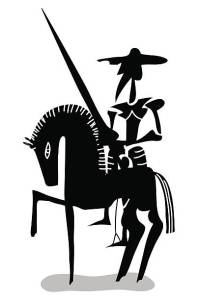 black and white Don Quixote with horse
